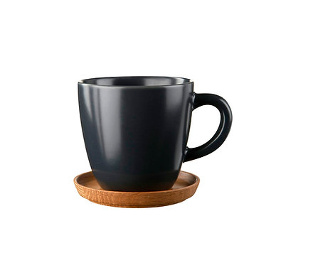 Комплект: Чашка для кофе черная, 0,33 л. с деревянным блюдцем!