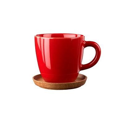 Комплект: Чашка для кофе красная, 0,33 л. с деревянным блюдцем!