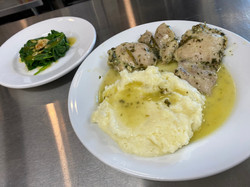 Chicken all'agro with purée di patate