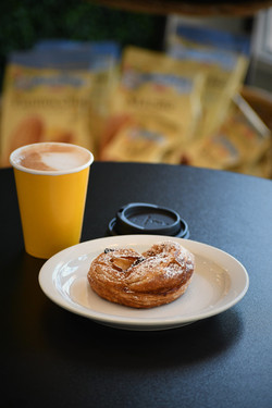 Apple Rose Pastry and Cappuccino