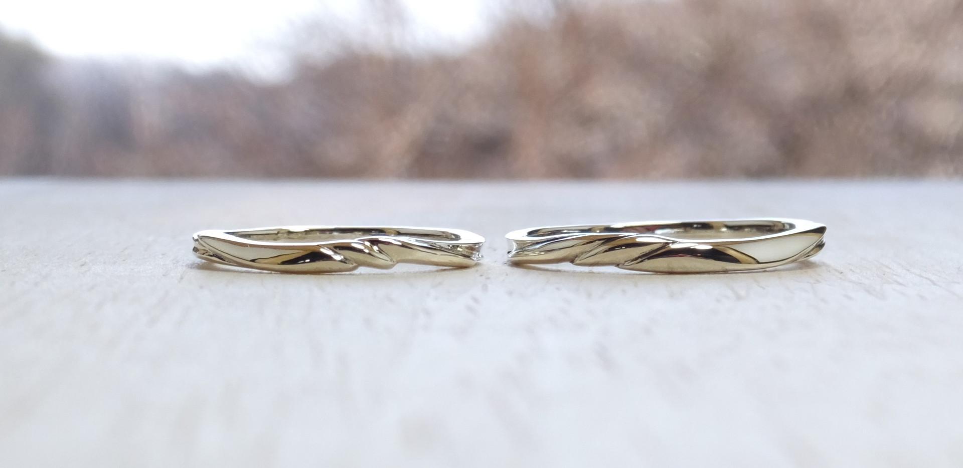 genchou design 手作り結婚指輪〈tsubame/ツバメ〉 K18ホワイトゴールド 鏡面仕上げ