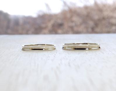 genchou design 手作り結婚指輪〈wadachi/わだち〉 K18ホワイトゴールド 鏡面仕上げ