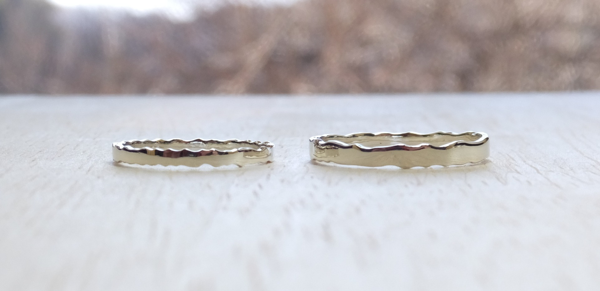 genchou design 手作り結婚指輪〈yuryou/夕稜〉 K18ホワイトゴールド 鏡面仕上げ