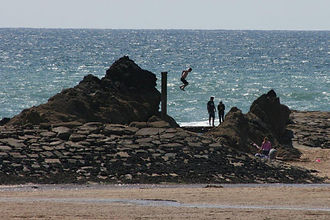 Jumping into St Thomas' pit summerlease beach