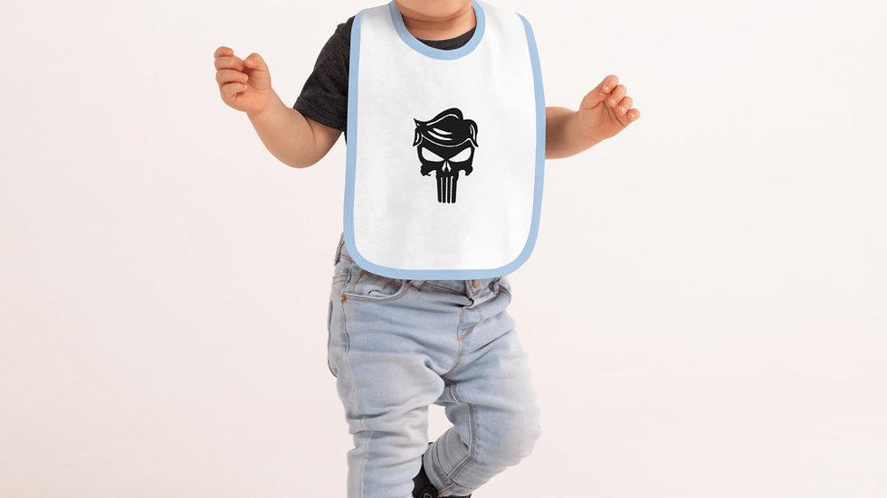 Punisher Trump 45 Embroidered Baby Bib