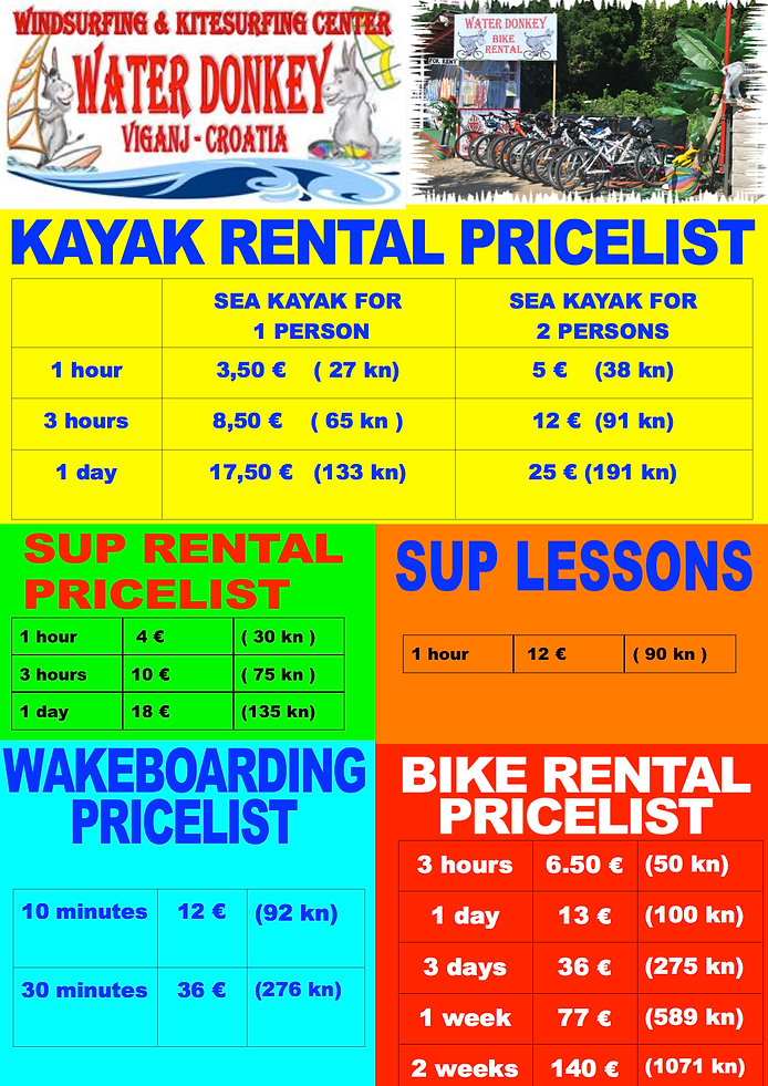 kayak and sup pricelist