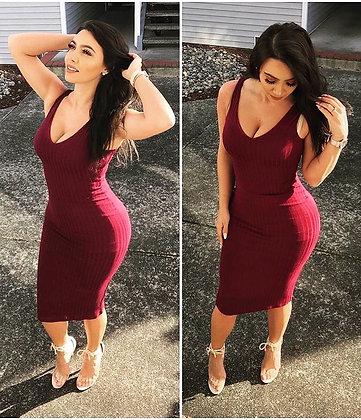 Fitted V collar Long Dress- Burgundy