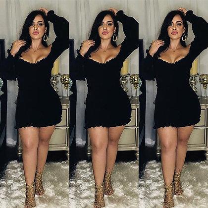 Carla Ruffle Black Dress