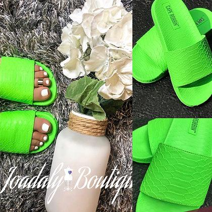 TRENDY NEON GREEN SANDALS