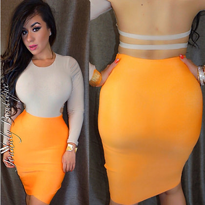 Acid Orange  Bandage Skirt