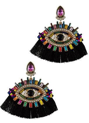Beaded  Eye Charm Earrings