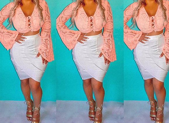 Crystal White Bandage Skirt