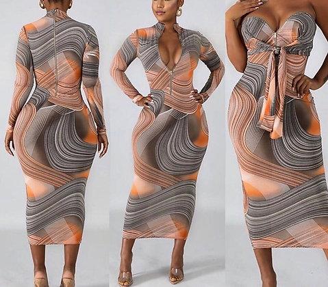 Marbled Midi Dress