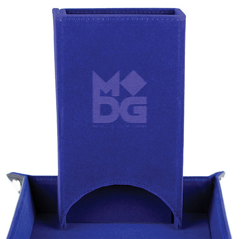 MDG Leather hold up dice tower blue velvet