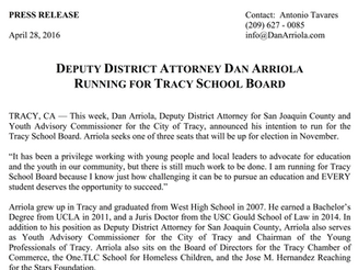 PRESS RELEASE:  DEPUTY DISTRICT ATTORNEY DAN ARRIOLA RUNNING FOR TRACY SCHOOL BOARD