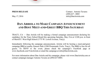 PRESS RELEASE: DAN ARRIOLA TO MAKE CAMPAIGN ANNOUNCEMENT AND HOST MEET-AND-GREET BBQ THIS SATURDAY