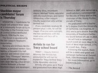 Arriola to Run for Tracy School Board