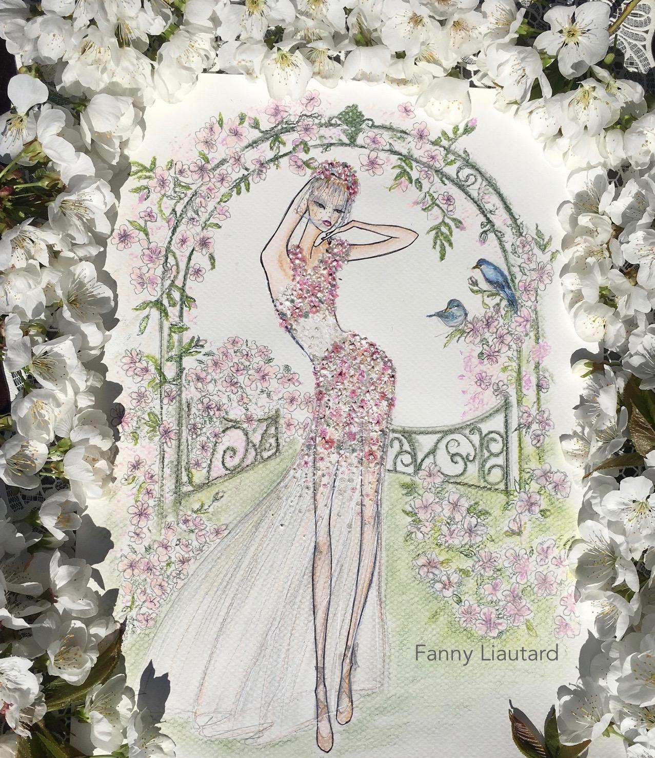 Mariée dans un jardin Anlais