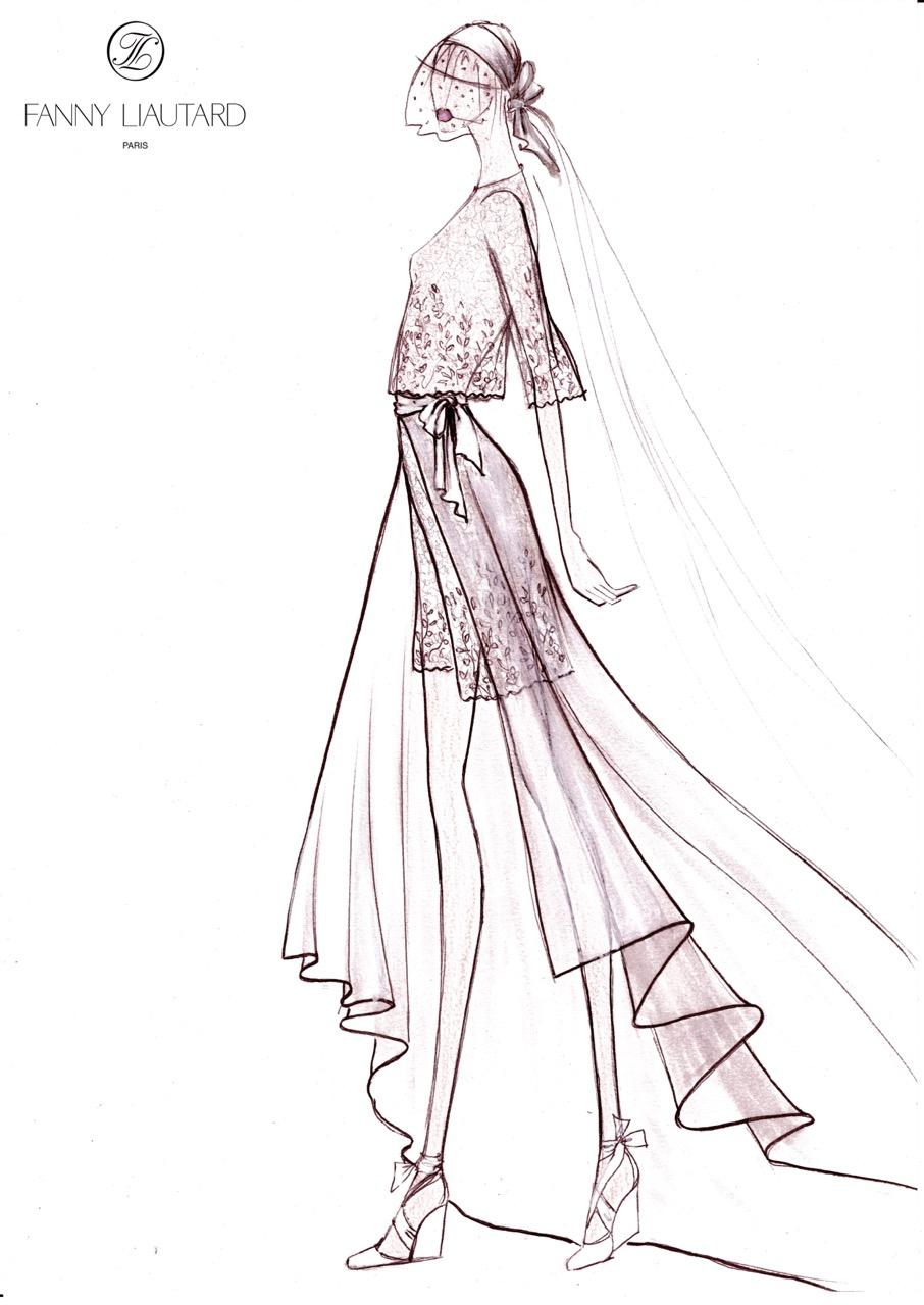 Robe short et traîne amovible