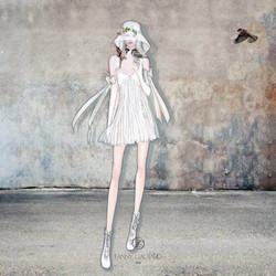 Robe_blanche_courte_avec_gants_et_décoll