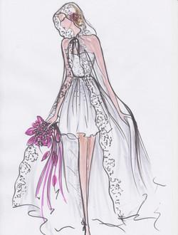 robe bustier courte voile de soie , plumetis de cristal Cape en voile de soie bo
