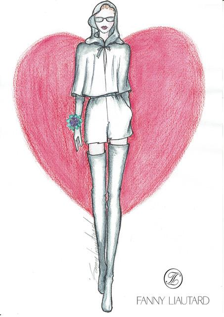 Dessin cape courte capuche & coeur