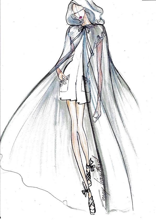 dessin de cape de mariage