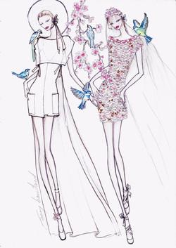 Robes brodées de fleurs