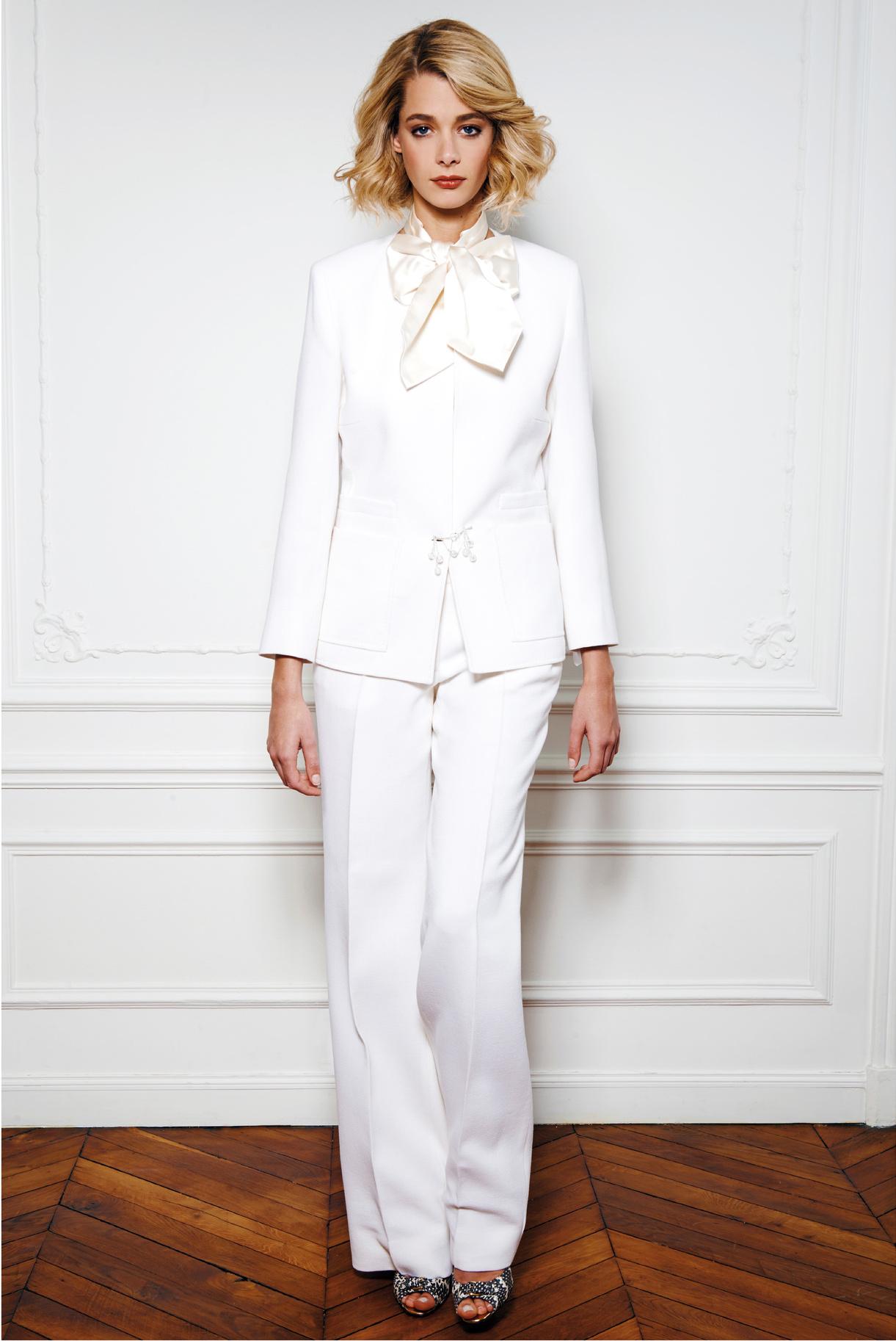 Tailleur pantalon blanc pour mariée pour mariée