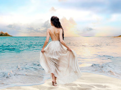 Robe ballerine dos nu sur la plage