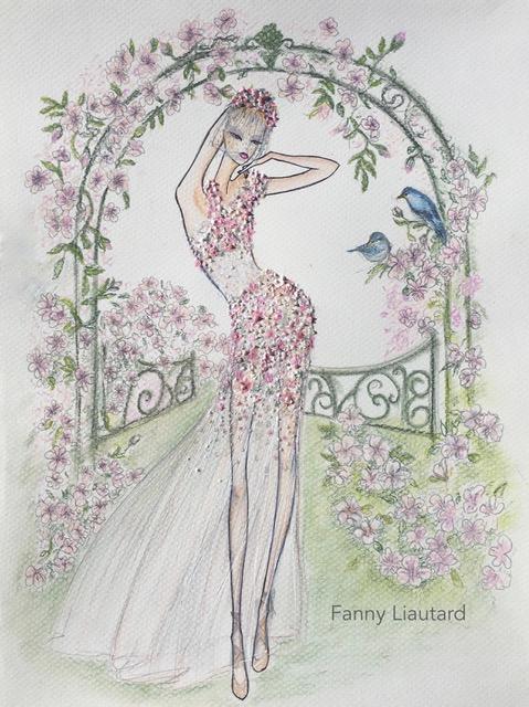 Mariée dans un jardin anglais