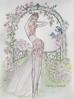 Mariée dans un jardin Anglais_