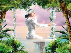 La mariée en Polynésie en robe de dentelle, sur une balançoire, Fanny Liautard