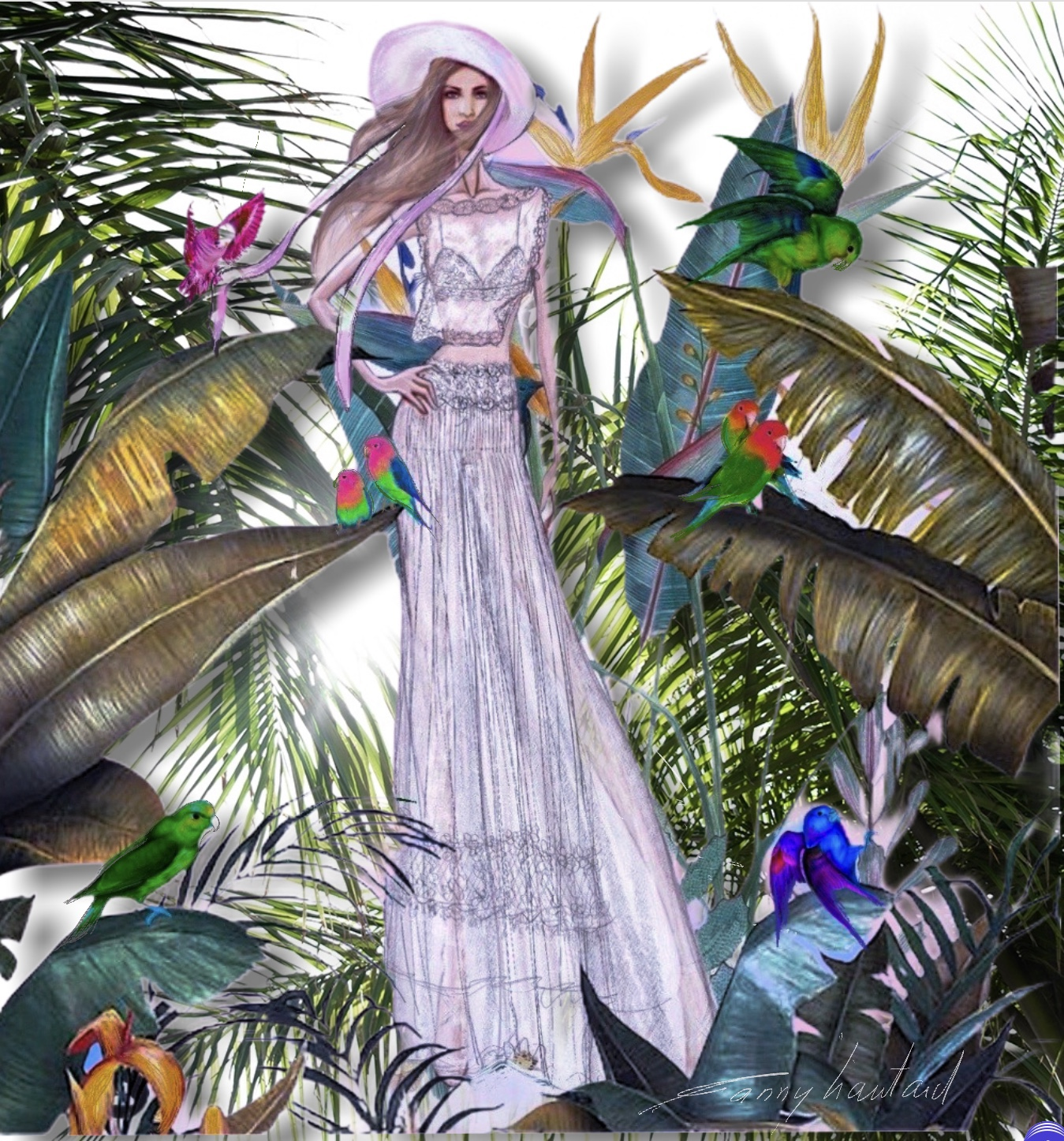 la mariée dans un jardin exotiqueique