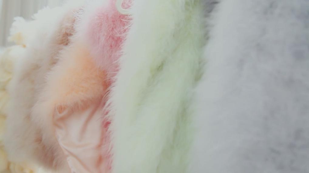étoles de plumes couleurs pastel
