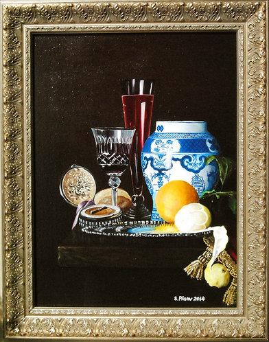 Still life oil painting. Blue jar