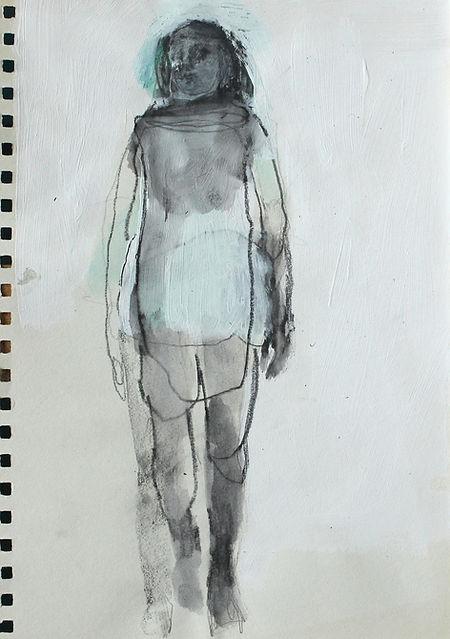 catherine seher dessin crayon aquarelle sur papier