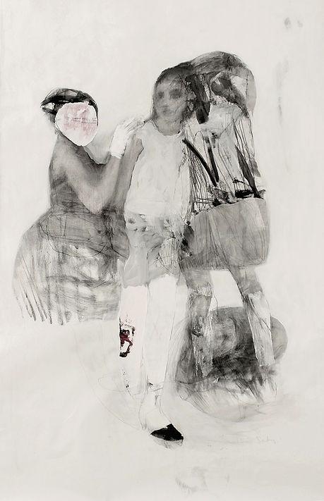 catherine seher dessin pierre noire et collage sur toile
