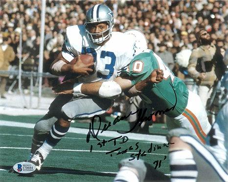 "Duane Thomas Autographed 8x10 Photo wt ""1st TD Texas Stadium 71"" inscription"