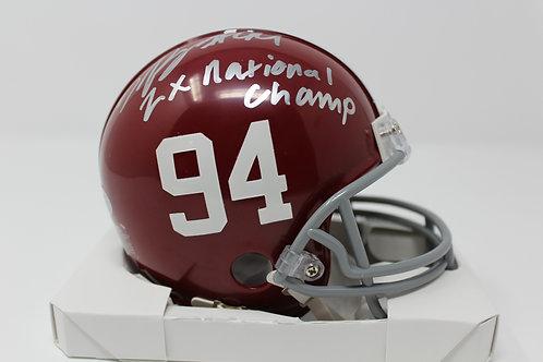 Da'ron Payne Autographed Alabama Mini Helmet Inscribed 2X National Champ