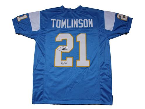 "LaDainian Tomlinson Autographed Custom Chargers Jersey wt ""HOF17"" Inscript"