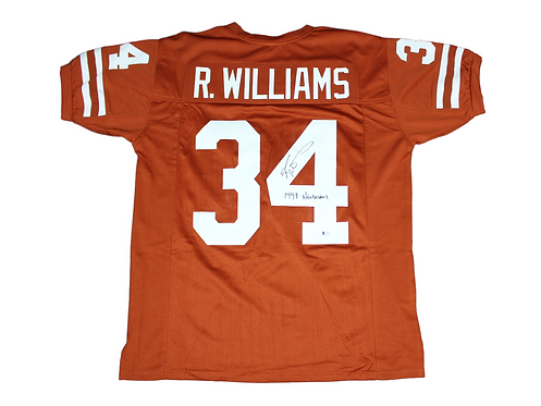 Ricky Williams Autographed Custom Longhorn Jersey inscribed 1998 Heisman