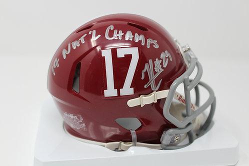 Minkah Fitzpatrick Autographed Alabama Mini Helmet Inscribed 17 Nat'l Champs