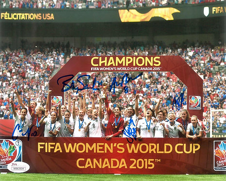 Autographed US Women's Soccer Celebration 8x10 Photo