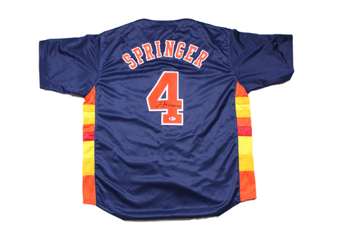 cheap for discount fe7b0 ca7e6 George Springer Autographed Custom Jersey Inscribed 17 WS MVP