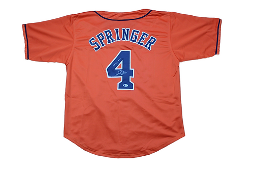 George Springer Autographed Custom Jersey Inscribed 17 WS MVP