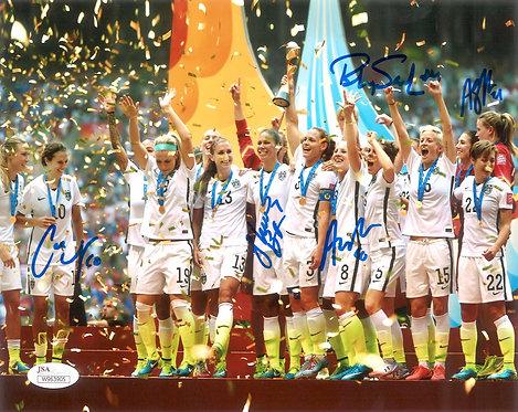 Autographed US Women's Soccer Celebration 8x10 Photo