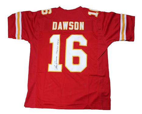"Len Dawson Autographed Custom Chiefs Jersey with ""SBIV MVP HOF 87""inscr"