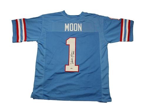 Warren Moon Autographed Custom Houston Oilers Jersey with HOF Inscription