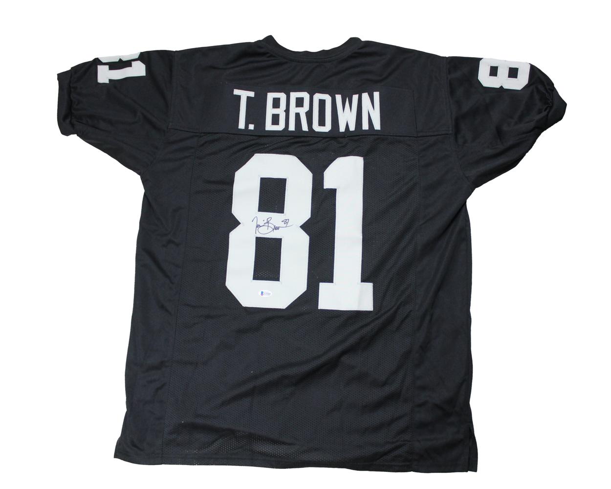 hot sale online 7bdcf b25a1 Tim Brown Autographed Custom Oakland Raiders Jersey